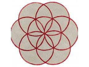 lotus flower rug red wool viscose