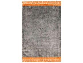 elgin tassels rug grey orange border