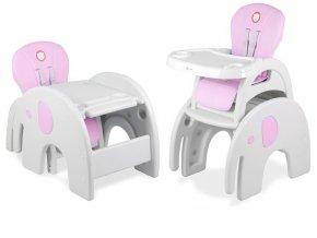 Jídelní židlička ELEPHANT 3v1 Růžová