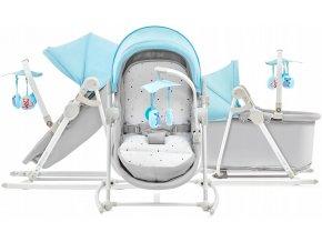 Dětská postýlka, kolébka, lehátko, houpátko a dětská židle v jednom pro děti od narození do 18 kg UNIMO modrá
