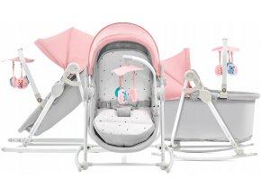 Dětská postýlka, kolébka, lehátko, houpátko a dětská židle v jednom pro děti od narození do 18 kg UNIMO růžová