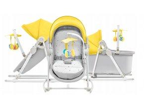Dětská postýlka, kolébka, lehátko, houpátko a dětská židle v jednom pro děti od narození do 18 kg UNIMO žlutá