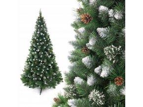 Umělá vánoční borovice s šiškami - stříbrná 160 cm