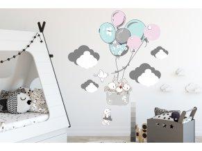 naklejka scienna dla dzieci balony chmurki drzewka 9814