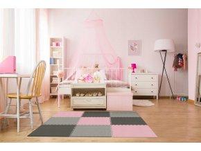 Pěnový koberec MAXI 9 ks 180x180x1 cm šedo-černo-růžová
