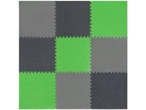Pěnový koberec MAXI 9 ks 180x180x1 cm šedo-černo-zelená