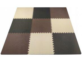 Pěnový koberec MAXI 9 ks 180x180x1 cm hnědá