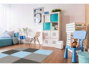 Pěnový koberec MAXI 9 ks 180x180x1 cm modrá2