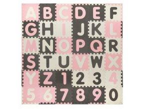 Pěnové puzzle ABECEDA A ČÍSLA 36 ks 180x180x1 cm růžová