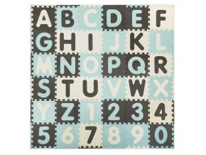 Pěnové puzzle ABECEDA A ČÍSLA 36 ks 180x180x1 cm modrá
