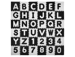 Pěnové puzzle ABECEDA A ČÍSLA 36 ks 180x180x1 cm černobílá