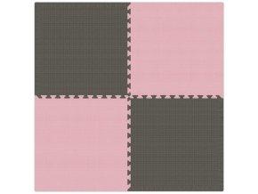Pěnový koberec MAXI 4 ks 124x124x1 cm šedo-růžová
