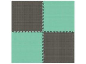 Pěnový koberec MAXI 4 ks 124x124x1 cm šedo-zelená
