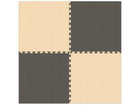 Pěnový koberec MAXI 4 ks 124x124x1 cm béžovo-šedá