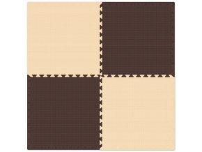 Pěnový koberec MAXI 4 ks 124x124x1 cm krémovo-hnědá