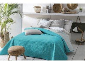 Oboustranný přehoz na postel BUENO 170x210 tyrkysovo-šedá