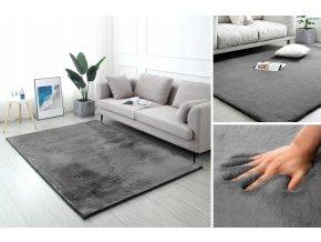 Kusový koberec RABBIT - Tmavě Šedý - imitace králičí kožešiny