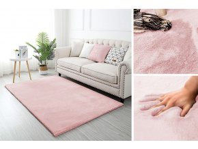 Kusový koberec RABBIT - Růžový - imitace králičí kožešiny