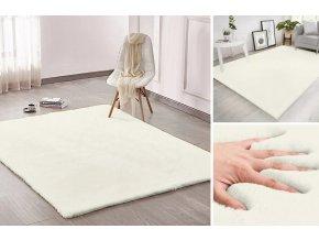 Kusový koberec RABBIT - Krémový - imitace králičí kožešiny