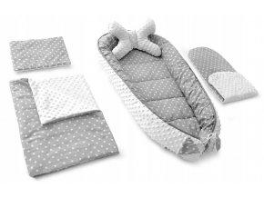 Hnízdečko - kokon pro miminko 5v1 STAR, bílé hvězdičky