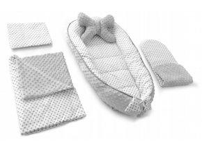 Hnízdečko - kokon pro miminko 5v1 DOTS, puntíky šedé