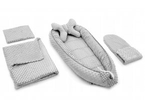 Hnízdečko - kokon pro miminko 5v1 DOTS, bílé puntíky