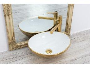 Keramické umyvadlo SOFIA zlaté/bílé