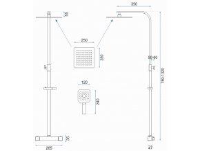 Sprchová souprava JET s termostatem - černá