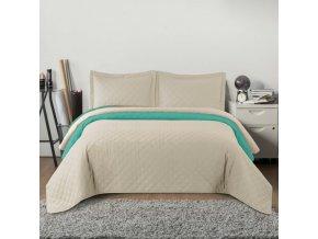 Oboustranný přehoz na postel INEZ béžovo-mátová