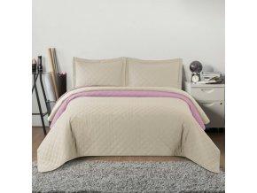 Oboustranný přehoz na postel INEZ béžovo-růžová