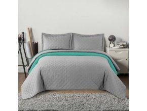 Oboustranný přehoz na postel INEZ 200x220 cm světle šedá-mátová