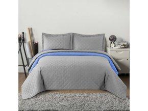 Oboustranný přehoz na postel INEZ světle šedá-modrá