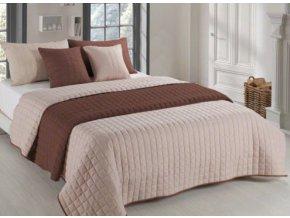 Oboustranný přehoz na postel AMANDA 220x240 cm hnědá-béžová
