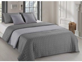 Oboustranný přehoz na postel AMANDA 200x220 cm tmavě šedá-šedá