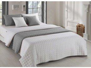Oboustranný přehoz na postel AMANDA 200x220 cm krémová-tmavě šedá