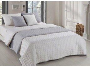 Oboustranný přehoz na postel AMANDA 200x220 cm světle šedá-krémová