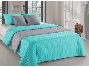 Oboustranný přehoz na postel AMANDA 220x240 cm mátová-tmavě šedá
