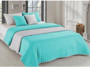 Oboustranný přehoz na postel AMANDA 200x220 cm mátová-světle šedá