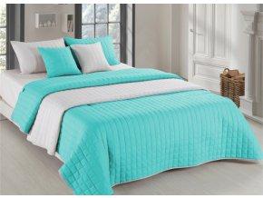 Oboustranný přehoz na postel AMANDA 220x240 cm mátová-krémová