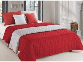 Oboustranný přehoz na postel AMANDA 200x220 cm červená-krémová