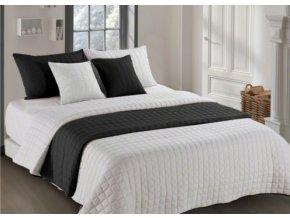 Oboustranný přehoz na postel AMANDA 220x240 cm černá-krémová