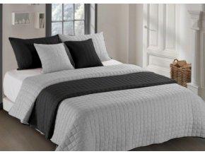 Oboustranný přehoz na postel AMANDA 200x220 cm černá-světle šedá
