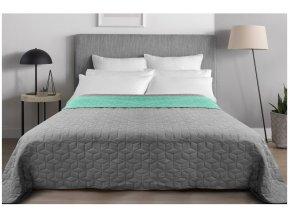 Oboustranný přehoz na postel DIAMANTE 200x220 cm mátová-světle šedá