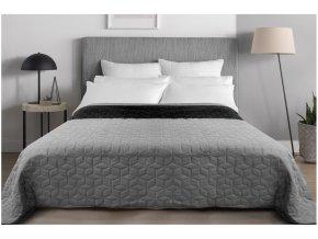 Oboustranný přehoz na postel DIAMANTE 220x240 cm černá-světle šedá