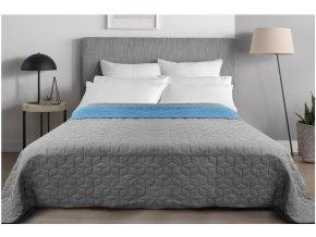 Oboustranný přehoz na postel DIAMANTE 200x220 cm modrá-světle šedá