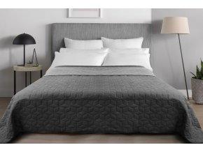 Oboustranný přehoz na postel DIAMANTE 220x240 cm tmavě šedá-světle šedá