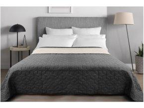 Oboustranný přehoz na postel DIAMANTE 200x220 cm tmavě šedá-ecru