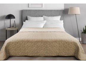 Oboustranný přehoz na postel DIAMANTE 220x240 cm béžová-ecru