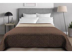 Oboustranný přehoz na postel DIAMANTE 200x220 cm béžová-hnědá