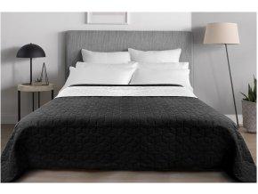 Oboustranný přehoz na postel DIAMANTE 220x240 cm černá-bílá